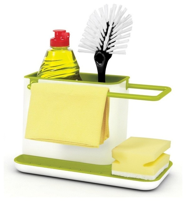 delightful Kitchen Sink Organizers Accessories #1: Joseph Joseph Caddy Sink Organizer, White/Green modern-kitchen-sink- accessories