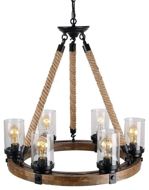 Round Wooden Chandelier With Clear Gl Shade Rope And Metal Pendant