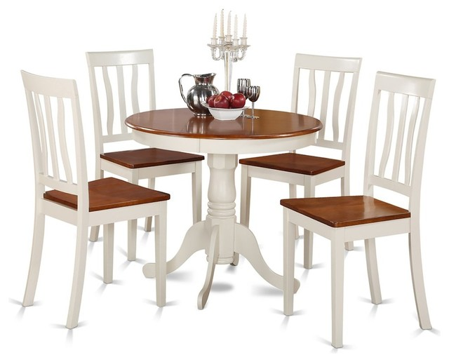 Small Kitchen Table and Chairs Set, Table Plus 4 Dining Chairs Buttermilk  Cherry