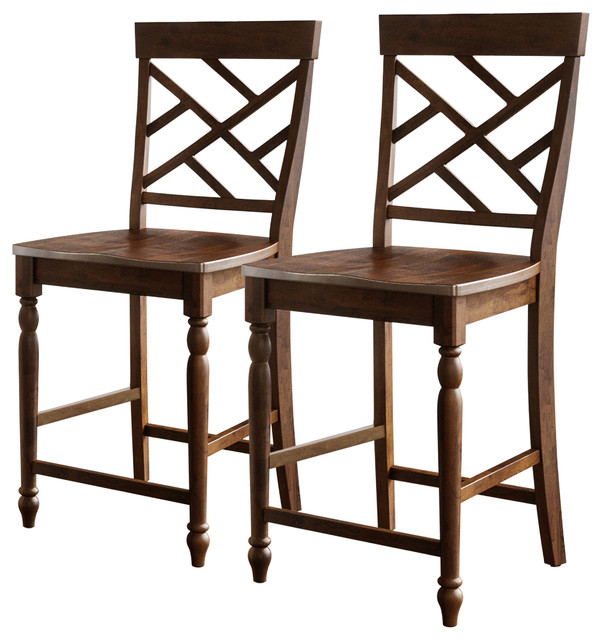 Kai Counter Stool Set Of 2 Traditional Bar Stools And