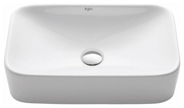 Kraus Soft Rectangular Ceramic Vessel Bathroom Sink, White.