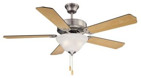 52 First Value Bowl Light, Ecm Ceiling Fan, Satin Nickel.