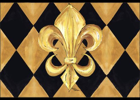 """Black And Gold Fleur De Lis New Orleans Indoor/outdoor Mat, 24""""x36""""."""
