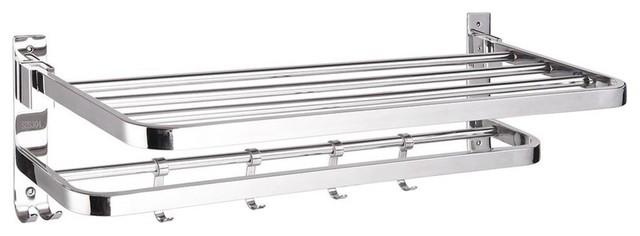 Wall Mounted Towel Rack Rail Holder Folding Shelf Sus304 Stainless Steel.