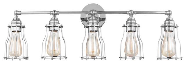 5 Light Vanity Light Fixture Industrial Bathroom Vanity Lighting By Feiss Monte Carlo