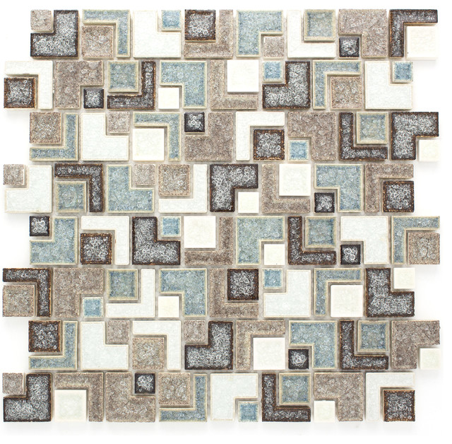 Sample Green Brown Crackle Glass Subway Mosaic Tile: Serena Crackle-Glass Mosaic Tile Sheet, Brown, Sample