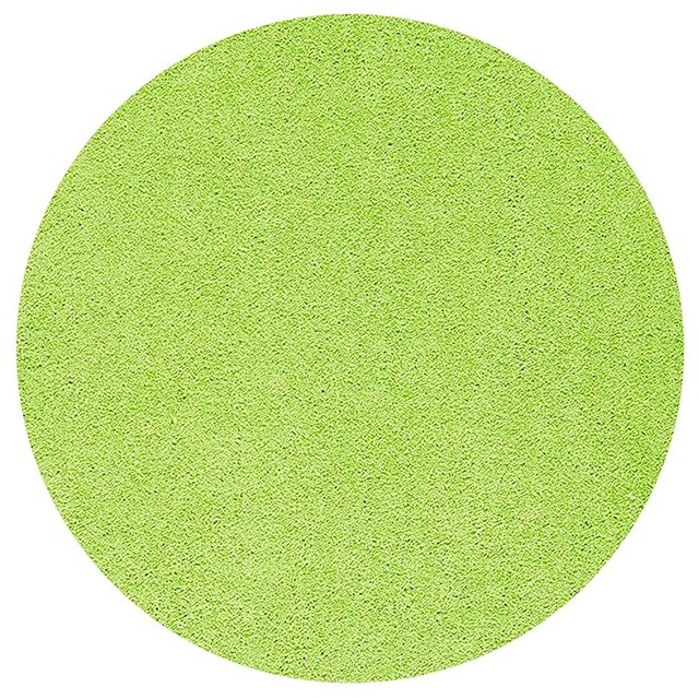 American Bright Solid Color Lime Green 7 Round Area Rug