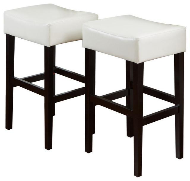 Astonishing Gdf Studio Duff Backless Leather Bar Stools Ivory Set Of 2 Machost Co Dining Chair Design Ideas Machostcouk
