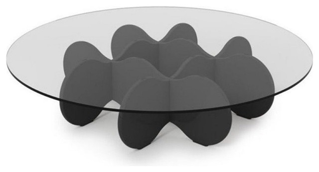 Bowery Hill Bowery Hill Round Glass Top Coffee Table Glossy Black - Glossy black coffee table