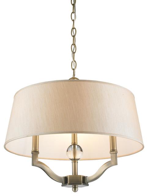 Waverly 3-Light Semi-Flush Mounts, Aged Brass.