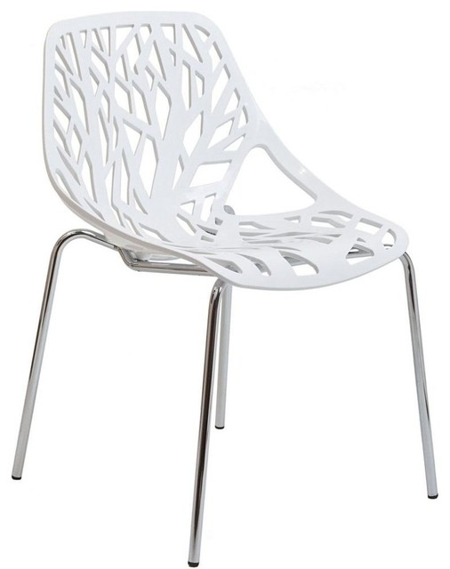 Stencil Dining Side Chair, White.