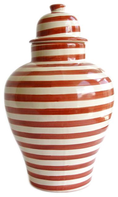 burnt orange striped tibor ginger jar - Ginger Jars