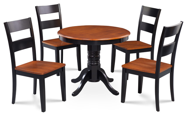 Brookline 5-Piece Small Kitchen Table, Chairs Set, Black, Cherry