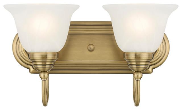 Belmont 2-Light Bathroom Vanity Light, Antique Brass