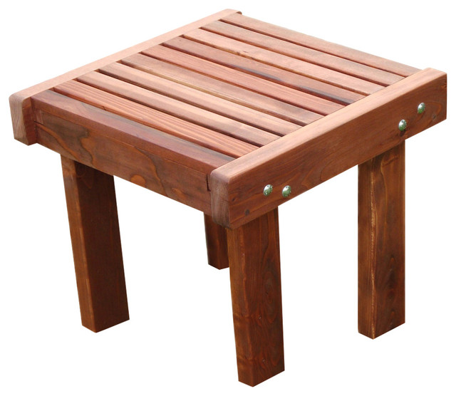 Sun Side Table Transitional Outdoor Side Tables By Best Redwood - Redwood side table