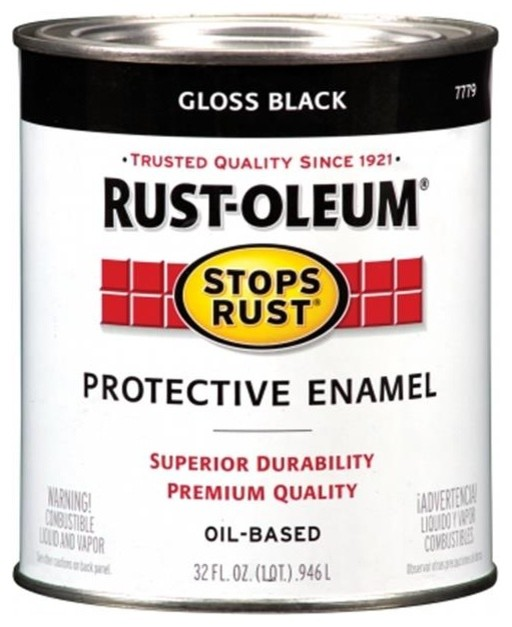 Rustoleum 1 Quart High Gloss Black Protective Enamel Oil Base Paint