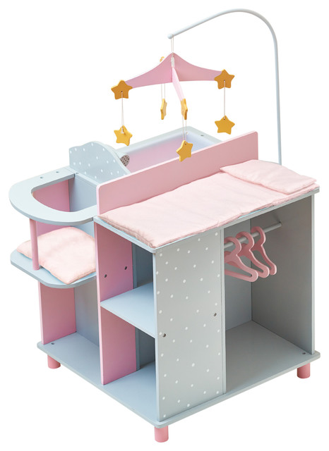 Little Princess Doll Furniture Baby Changing Station Gray Polka Dots