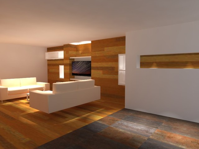 Example of a large trendy medium tone wood floor living room design in Madrid with a wall-mounted tv