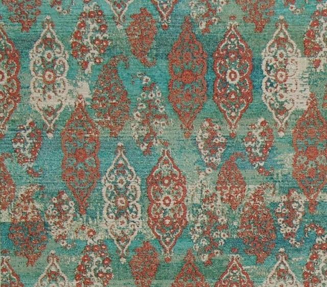Blue Green Oriental Rug Fabric Ombred Aqua Upholstery, Standard Cut