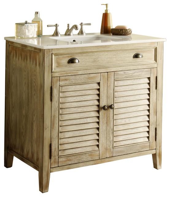 Modetti Palm Beach Cottage Beach Distressed Look Bathroom Vanity 36 Farmhouse Bathroom