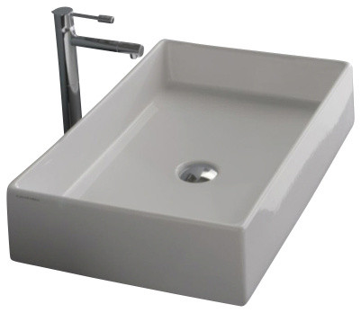 Rectangular White Ceramic Vessel Sink, No Hole