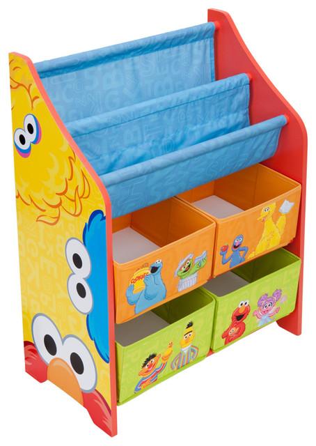 Delightful Children Yellow Blue Sesame Street Book U0026 Toy Multi Bin Storage Organizer  Contemporary Kids