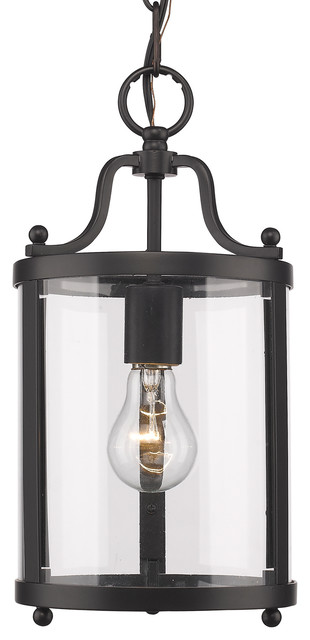 Payton Mini Pendant With Clear Glass, Black.