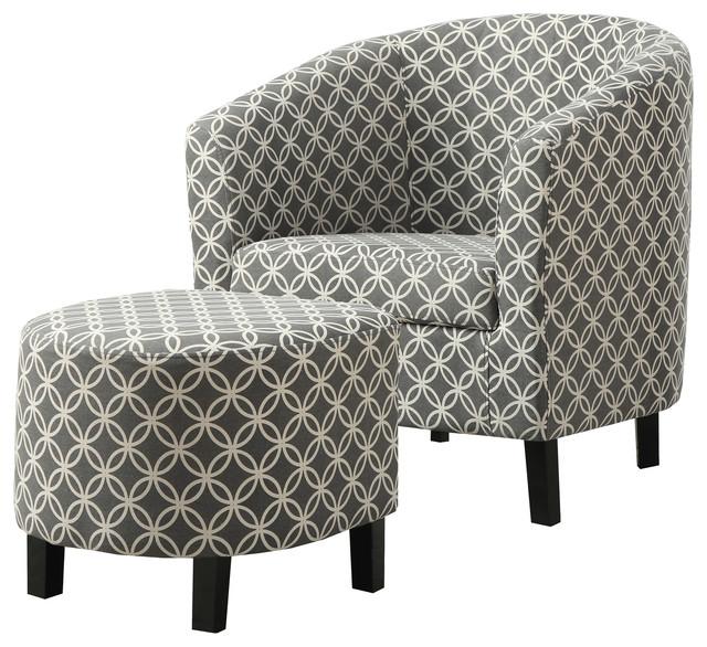 Accent Chair 2pcs Set Gray Quot Circular Quot Fabric