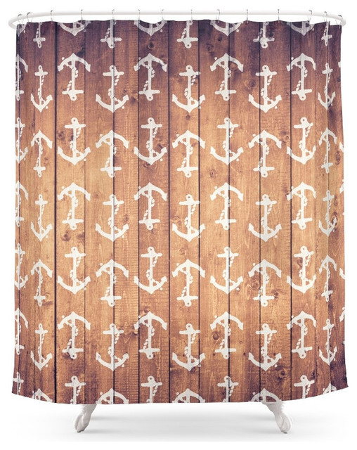 Society6 Vintage White Nautical Anchors Pattern Brown Wood Shower ...