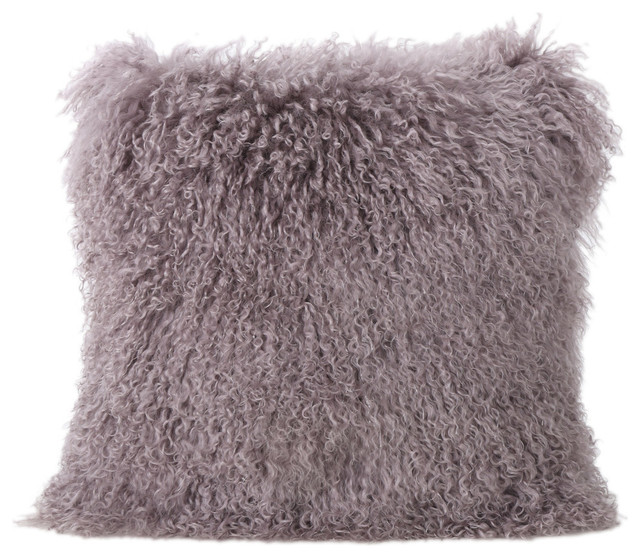 Gdf Studio Marybelle Gy Light Purple Lamb Fur Square Pillow Contemporary Decorative Pillows By Gdfstudio
