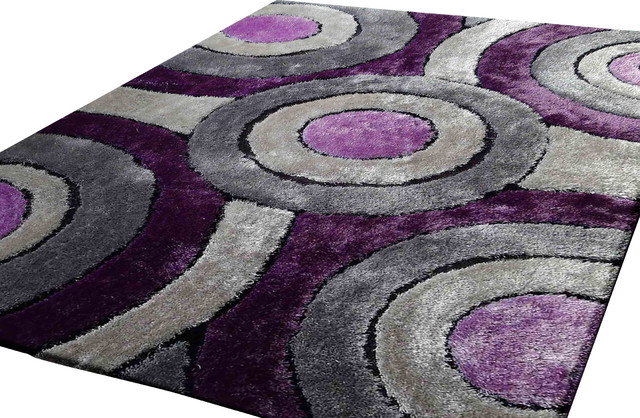 Shaggy Living Room Area Rug, Purple And Grey, Hand