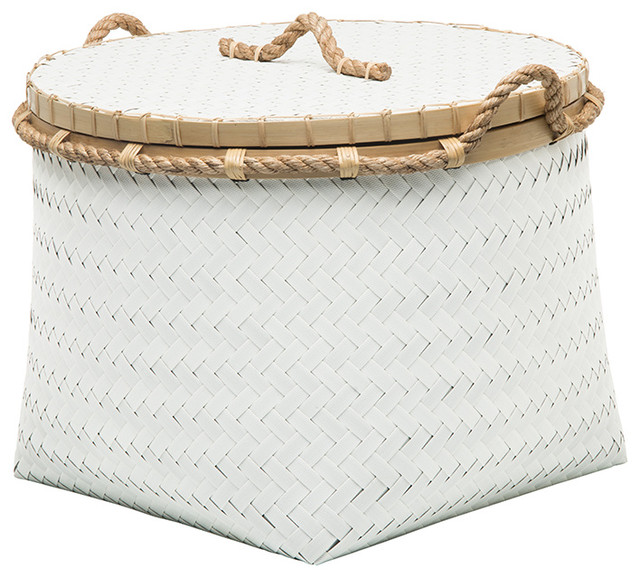 Round Low Storage Basket in Strapping Band, Bamboo and Jute Rope, White Gray