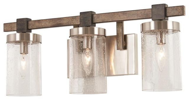 Bridlewood 3 Light Bathroom Vanity Light in Stone Grey With Brushed Nickel