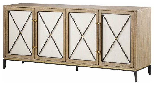 Swell Maison 55 Carson Credenza Modern Oak 4 White Door Buffet Sideboard Home Interior And Landscaping Palasignezvosmurscom