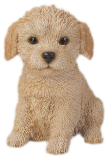 Realistic Labradoodle Puppy Dog Garden Statue Transitional