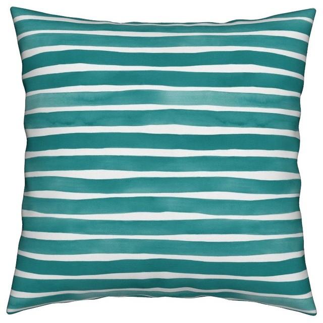 Horizontal Hand Painted Paint Brushstroke Throw Pillow