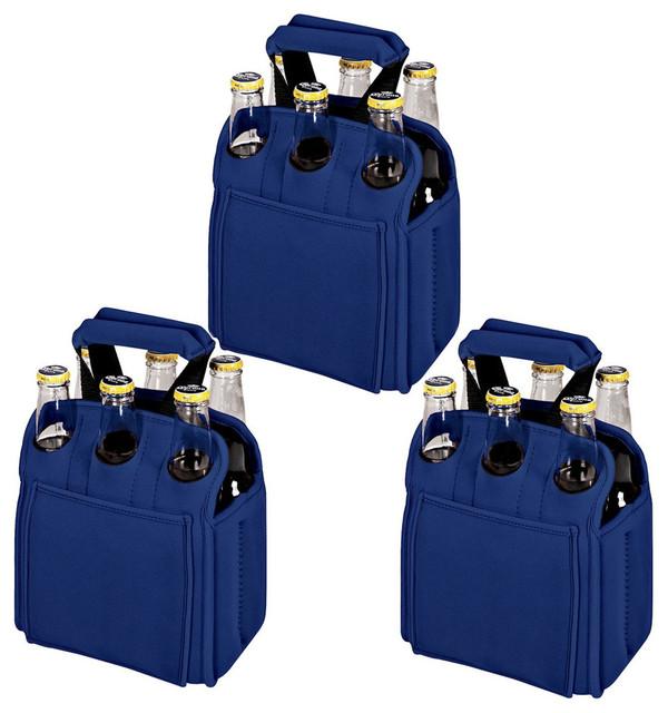 Picnic Time Neoprene 6-Pack Carrier Cooler Totes, Royal Blue, Set Of 3.