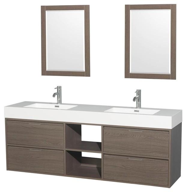 Double Bathroom Vanity, Countertop, Integrated Sinks, Gray Oak, 24 Mirrors, 72.
