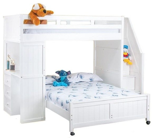 Post White Twin Over Full L Shaped Loft Bed With Stairs And Desk Transitional Bunk Beds By Totally Kids Fun Furniture Toys