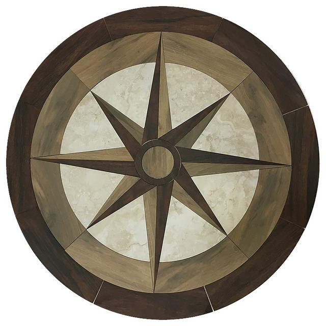 Round Waterjet Porelain Wood Floor Medallion Tile Inlay 36 Contemporary Medallions And Inlays By Plus
