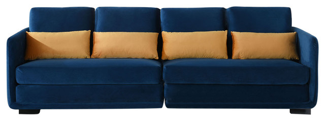 Modern Convertible 2-Piece Sofa, Velvet Upholstery With Pillows, Navy Blue.