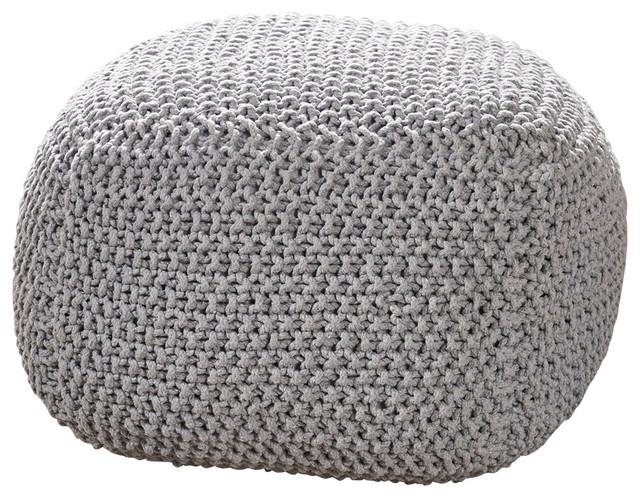 Teresa Knitted Cotton Square Pouf, Light Gray.