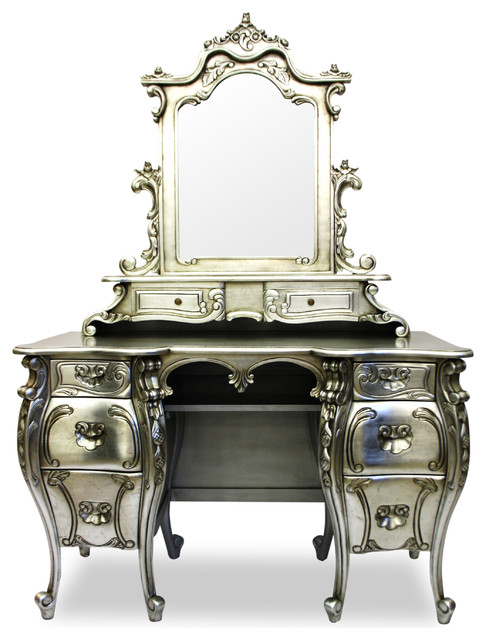 Fabulous and rococo silver leaf dressing table with mirror for Silver vanity table