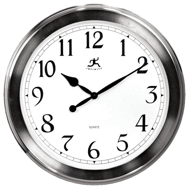"""Contemporary Faux Brushed Nickel Finish 20"""" Wide Wall Clock"""