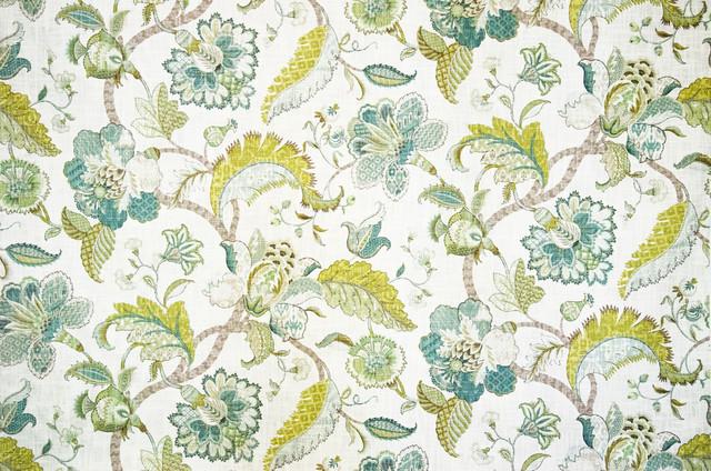 Indienne Fabric Jacobean Floral Gold Blue Aqua, Sample
