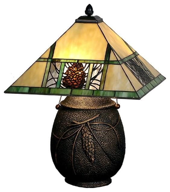 Meyda Tiffany Pinecone Mission Tiffany Table Lamp X 05876 Craftsman Table  Lamps