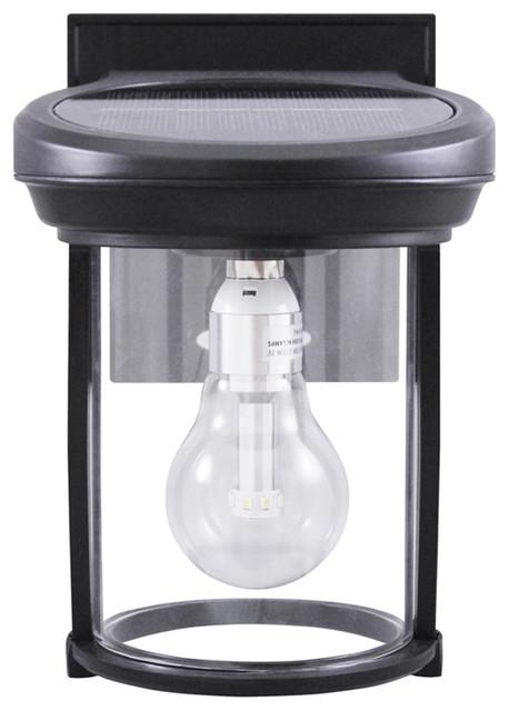 Solar Coach Lantern With GS Solar LED Light Bulb, Cast Aluminum Black  Farmhouse Outdoor