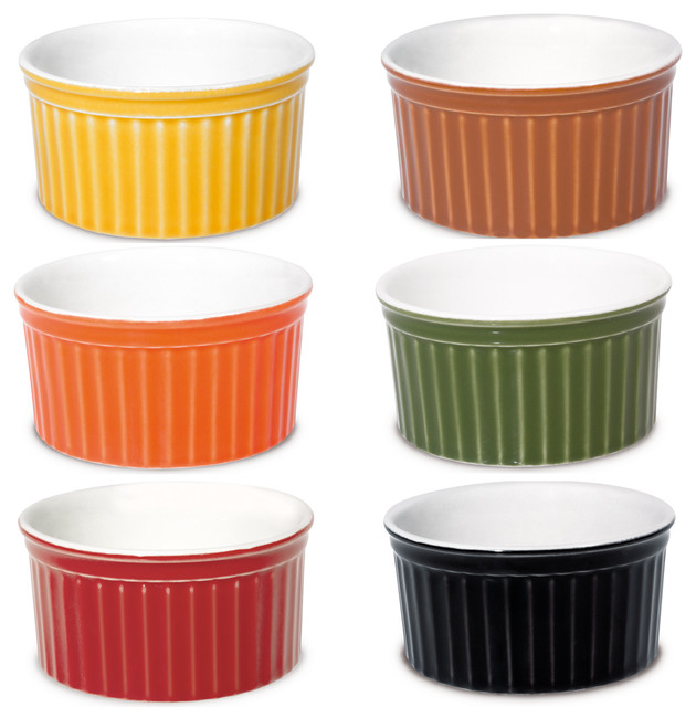 Oxford Porcelain Ramekin Assorted Colors Set Of 6