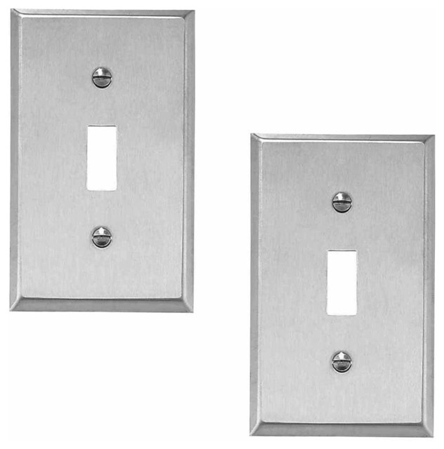 2 switchplate brushed stainless 1 toggle or dimmer contemporary switch pl. Black Bedroom Furniture Sets. Home Design Ideas