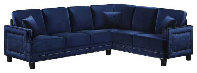 Ferrara Velvet 2-Piece Sectional, Navy.